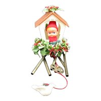 Vintage Pixie Elf Hanging Christmas Chimes Peace on Earth 1950s Good Condition