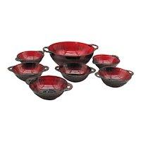 Vintage Hocking Depression Glass Berry Bowl Set Coronation Pattern 1936-40 Good Condition