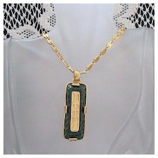 Unusual Vintage Signed Robert Rose Poured Glass Necklace Art Glass Pendant UNWORN