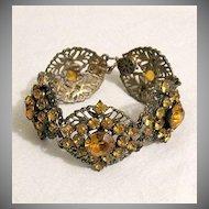 50% OFF Fabulous Vintage Brass Bracelet Citrine Rhinestones