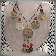 50% OFF Unique Vintage Repousse Medallion Carnelian Charm Necklace Brass