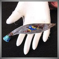 50% OFF Very Old Vintage Sword Brooch Enameled Bird Guilloche Enameled Handle