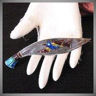 50% OFF Very Old Vintage Sword Brooch Enameled Bird Guilloche Enameled Handle