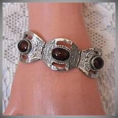 50% OFF Vintage Sterling Silver Brown Jasper Bracelet Hallmarked