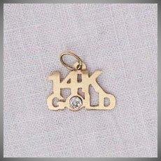 50% Off Fun Vintage 14K Gold Charm Diamond Chip