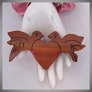 50% Off HUGE Vintage Wooden Love Bird Heart Brooch Signed Pat Pend