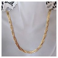 50% Off Ornate Flat Gold Plated 30 inch Chain Vintage Necklace