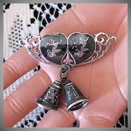 50% Off Rare Sterling Siam Nielloware Vintage Double Heart Bells Brooch