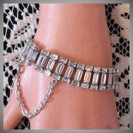 50% Off Unusual Stunning Baguette Signed B David Vintage Rhinestone Bracelet