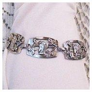 Rare Vintage Greek Goddess Sterling Silver Arts Crafts Era Bracelet