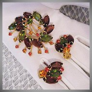 50% Off Vintage Juliana DeLizza Elster Brooch Earrings Set