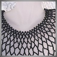50% Off Vintage Glass Beaded Bib Collar Necklace Diamond Shape