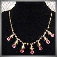 50% OFF~Vintage Signed Amco 10K GF Pink Rhinestone Necklace