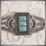50% OFF Vintage Nickle Silver American Indian Turquoise Brooch Story Telling