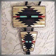 50% Off Scarce Vintage Native American Indian Signed C Dishta Zuni Inlay Bola Tie Necklace Belt Buckle