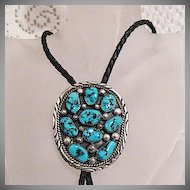BOLD Signed Tommy Moore Vintage Native American Navajo Indian Sterling Silver Bola NecklaceTurquoise