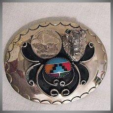 Wonderful Vintage Zuni Native American Indian Inlay Buffalo Nickel Belt Buckle Signed Squaw Wrap