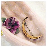 50% OFF Victorian Antique Crescent Moon Pin Brooch