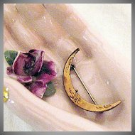 50% OFF Victorian Antique Crescent Moon Pin Brooch