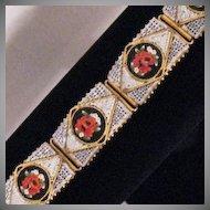 50% OFF Magnificent Vintage Italian Micro Mosaic Rose Tile Bracelet