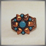 50% Off Signed Bell Trading Company Native American Indian Vintage Copper Turquoise Cuff Bracelet