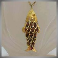 50% OFF Huge Articulated Vintage Fish Collet Rhinestone Necklace