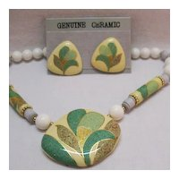 Awesome Vintage Seta Ceramic Necklace Earrings Set Unworn Original Box Free Shipping