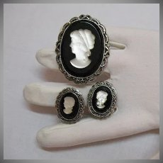 50% OFF Bold Beautiful Vintage Black White Glass Cameo Brooch Earrings Set
