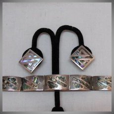 50% OFF Exceptional Vintage Sterling Silver Abalone Inlay Bracelet Earrings Hallmarked JP