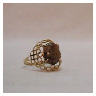 50% Off Feminine Vintage 14K Gold Ring Natural Matrix Tigers Eye