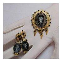 50% OFF Vintage Juliana D & E Hematite Intaglio Cameo Brooch Earrings Set
