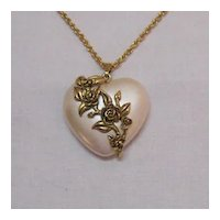 BOOK Vintage Avon Lustrous Heart Necklace 1991 Pearlized Lucite Puff Heart Floral Overlay FREE SHIPPING