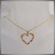 50% OFF Beautiful Vintage 14K Gold Heart Pendant Necklace Italy