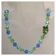 50% OFF Gorgeous Vintage Faceted Glass Beaded Necklace Rhinestone Clasp