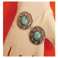 50% Off Big Bold Fabulous Faux Turquoise Vintage Floral Earrings