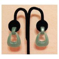 50% Off Darling Vintage Turquoise Lucite Doorknocker Pierced Earrings