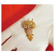 50% Off Vintage Pink Lucite Scarab Belly Owl Brooch/Pin