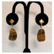 50% Off Gorgeous Tiger's Eye Natural Stone Vintage Earrings
