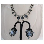 50% Off Bold Vintage Rhinestone Sapphire Blue Necklace Earrings Set