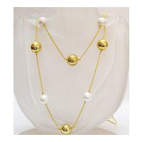 Vintage Bold Gold Faux Pearl 36 Inch Necklace Free Shipping