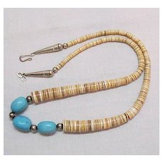 Native American Indian Vintage Heishi Shell Natural Turquoise Sterling Silver Necklace