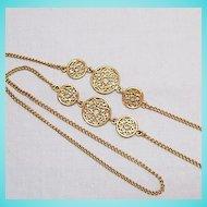 50% Off Vintage 34 Inch Long Golden Filigree Necklace