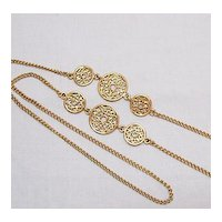 Vintage 34 Inch Long Golden Filigree Necklace Free Shipping