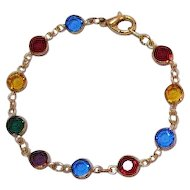 50% Off Vintage Collet Set Jeweled Colored Glass Bracelet French Style