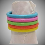 50% OFF Five Vintage Bright Lucite Stack Bangle Bracelets