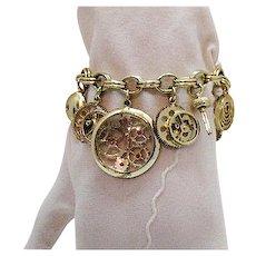 Very Unusual Vintage Faux Watch Parts Charm Bracelet Free Shipping