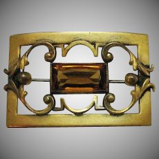 50% OFF Signed GLP Antique Art Nouveau Citrine Brooch~Garment Pin