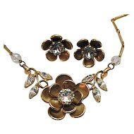 50% OFF Vintage 1940s Rhinestone Floral Necklace Earrings Set