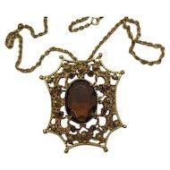 50% OFF Signed Florenza Vintage HUGE Cognac Stone Necklace
