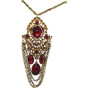 50% OFF Vintage Red Glass Rhinestone Pendant Necklace Captivating